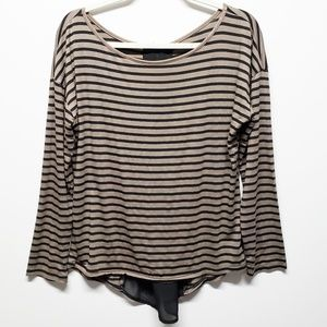 Paper Kite / Anthro Black Taupe Striped Top Medium